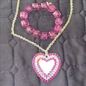 Tarina Tarantino Purple Heart necklace lucite